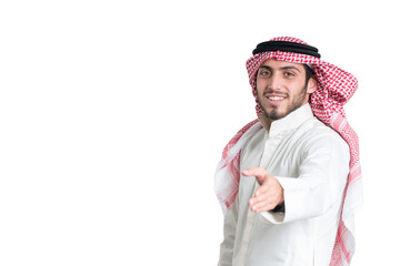 Young arab  buisnisman offering a handshake. isolated