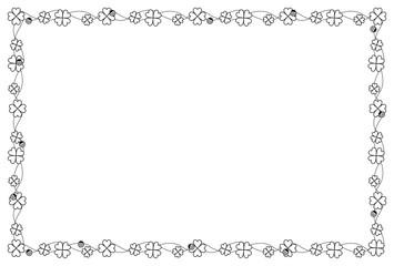 クローバーのフレーム 白黒