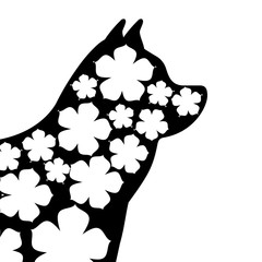 dog mascot silhouette with skin floral vector illustration design