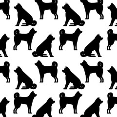 dogs mascots silhouettes pattern background vector illustration design