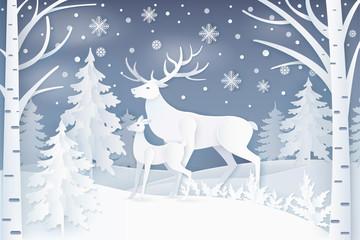 Deer Walking in Winter Forest Vector Illustration