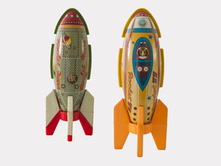 Rockets tin toy / Isolated white