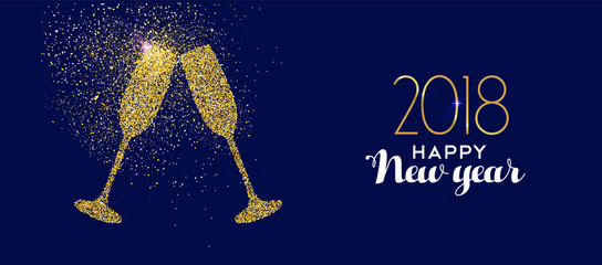 Happy New Year 2018 gold glitter glass toast