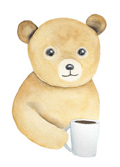 Teddy bear holding white glass cup in hand. Soft, cozy, warm, light, fluffy little one, shining beady eyes. Sympathy, children tea party invitation. Watercolour isolated illustration, white background