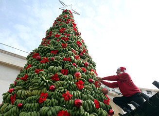 A man decorates a Christmas tree made of bananas in Damour area, south of Beirut