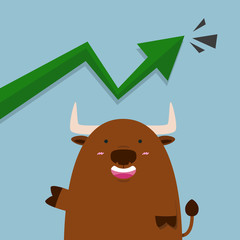 cute big brown bull in stock market green graph going up arrow.