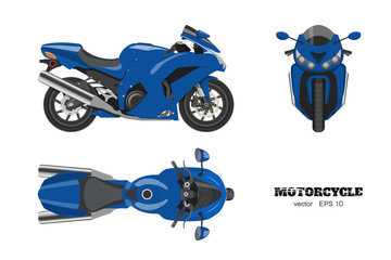Blue motorcycle in realistic style. Side, top and front view. Detailed image of bike on white background