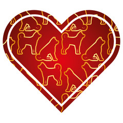 heart love dog zodiac calendar pattern vector illustration red and golden image