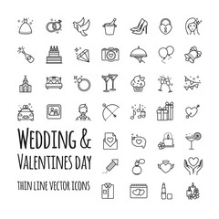 Wedding and Valentines day vector icons set