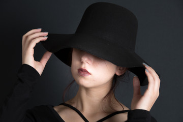 Fotobehang womenART portraits on black background