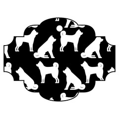 label dog zodiac calendar pattern vector illustration black and white