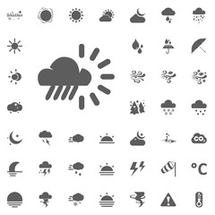 Cloud rain and sun icon. Weather vector icons set.