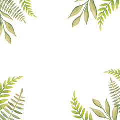 Beautiful abstract green leaves painted with watercolor make up decorative frame with white background