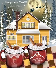 Hot drinks red mugs, a yellow house facade background. winter family holidays card Vector detailed illustrations