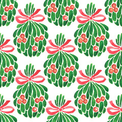 Seamless watercolor Christmas pattern. Hand painted mistletoe with holly berries and a red ribbon