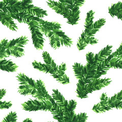 Hand painted branches of fir tree. Seamless watercolor pattern for Christmas and New Year