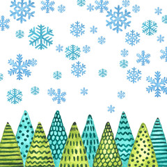 Christmas trees and snowflakes. Watercolor Christmas and New Year illustration