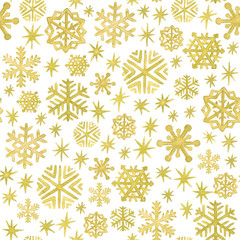 Hand painted watercolor snowflakes and stars in gold. Christmas and New Year seamless pattern