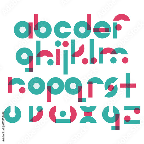 Vector Abc Letters Sequence From A To Z In Geometric Style Blue And Pink Elements