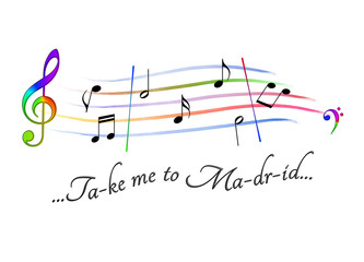 Musical score colored Take me to Madrid