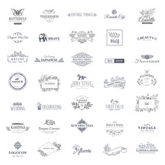 Collection of vector logo templates. Flourishes calligraphic elements and frames. Modern style of design elements, postcard, banners.