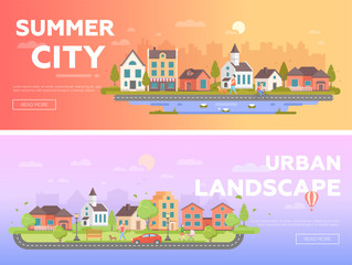 Summer city, urban landscape - set of modern flat vector illustrations