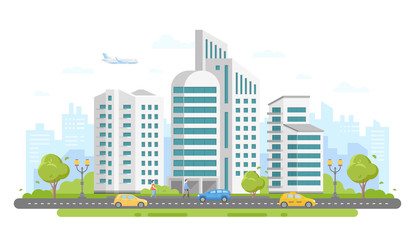Urban landscape - modern colorful flat vector illustration