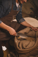 partial view of worker gathering coffee beans with metal scoop from sack bag