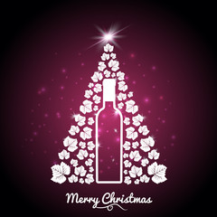 Christmas greeting idea for wine business. Illustration of Christmas tree with vine leaves and wine bottle.