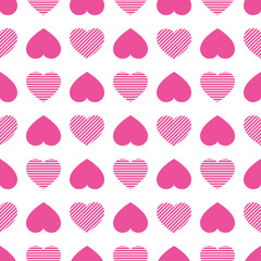Hearts icons seamless pattern. Valentine's Day vector background. Abstract template texture. Cute pink love hearts symbols. Good idea for wrapping paper, clothes prints, greeting holidays design