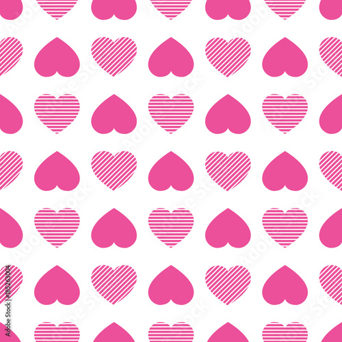 Hearts Icons Seamless Pattern Valentines Day Vector Background