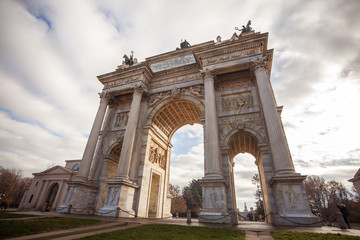 Poster Milan Historical marble arch Arco della Pace, Sempione square, Milan, Lombardy, Italy
