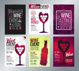 Design templates with ideas for wine events. Wine textures, artistic illustrations wine glasses and wine bottles.