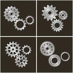 Set of gears. Vector illustration.