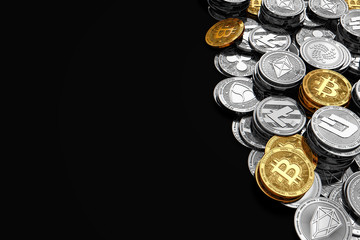 Stack and piles of Bitcoin and other different cryptocurrencies isolated on black background with copy space on the left side. 3D rendering