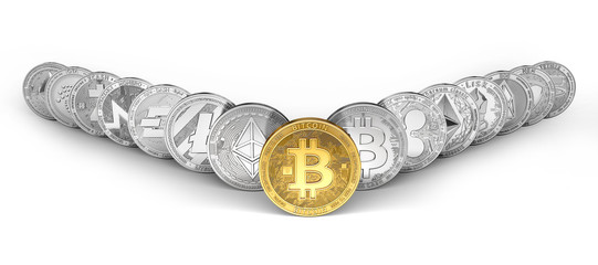 Golden Bitcoin on the front and 14 other cryptocurrencies. Mutual growth of all cryptocurrencies concept. Isolated on white background. 3D rendering
