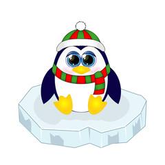 Cute funny cartoon penguin on ice floe. Vector illustration.