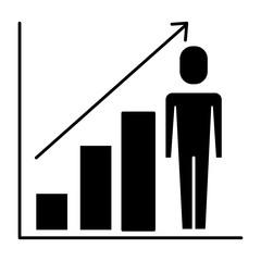 businessman with diagram arrow growth finance vector illustration  pictogram
