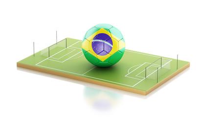 3d Brazil flag and soccer ball.