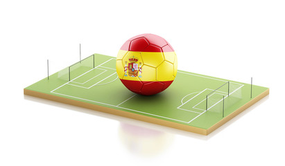 3d Spain flag and soccer ball.