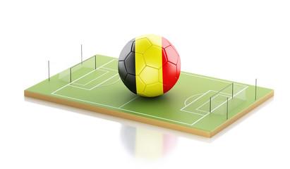 3d Belgium flag and soccer ball.