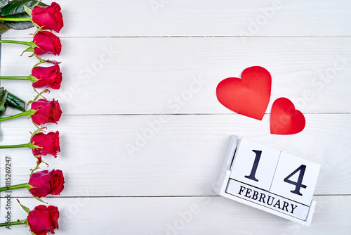 Valentines Day Background With Red Roses Border Two Paper Hearts