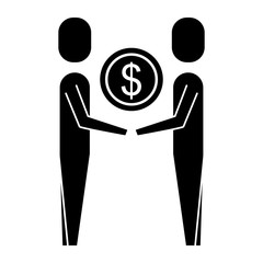 business people holding money coin dollar team vector illustration pictogram