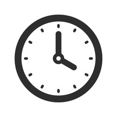 Simple clock icon in flat style, black timer on white background, business watch. Vector design element for you project