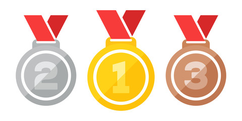 Three medals vector illustration
