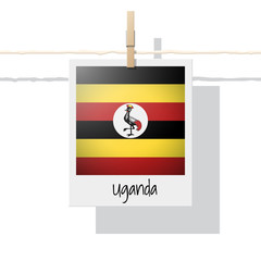 African country flag collection with photo of Uganda flag , vector , illustration