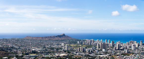 Aerial view of Waikiki and University of Hawaii