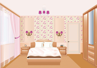 illustration interior bedroom with a window with curtains