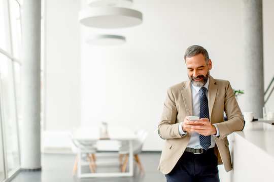 Handsome mature businessman  with mobile phone