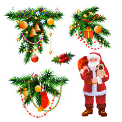 Christmas and New Year decoration icons and elements, christmas tree branch and Santa Claus with bag vector illustration isolated on white.